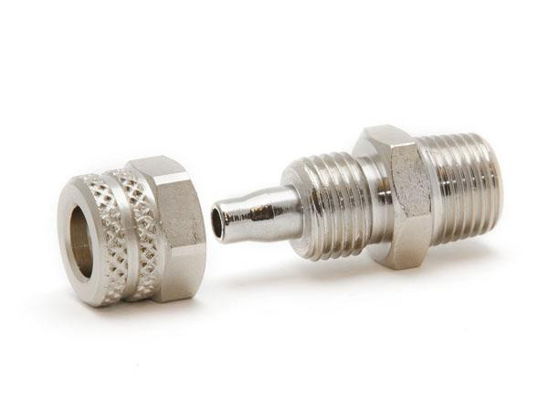 """Pressure fitting 1/8"""" NPT male to 1/4"""" OD hose"""