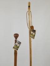 """Hardwood Stick 48"""" (chip) + Bamboo Knob Cane 34"""" (cracks) 1137"""