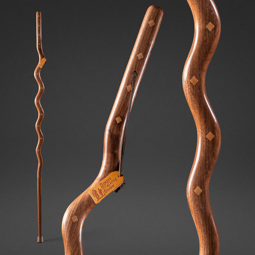 Southwest Riverbend Walnut with Maple Inlay Exotic Walking Stick