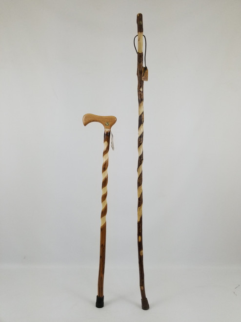 "Twisted Sweetgum Stick 55"" (finish issues/tip) + Twisted Hickory Cane 35"" (finish issues) 1112"