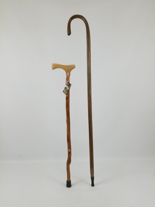 "Oak Crook Stick 48"" (finish issues) + Freeform Hickory Cane 34"" (bugholes/handle finish) 1134"
