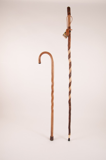 "Twisted Sweet Gum Stick 55"" (grip issues) + Oak Crook Cane 37"" (nicks/tip) 1146"