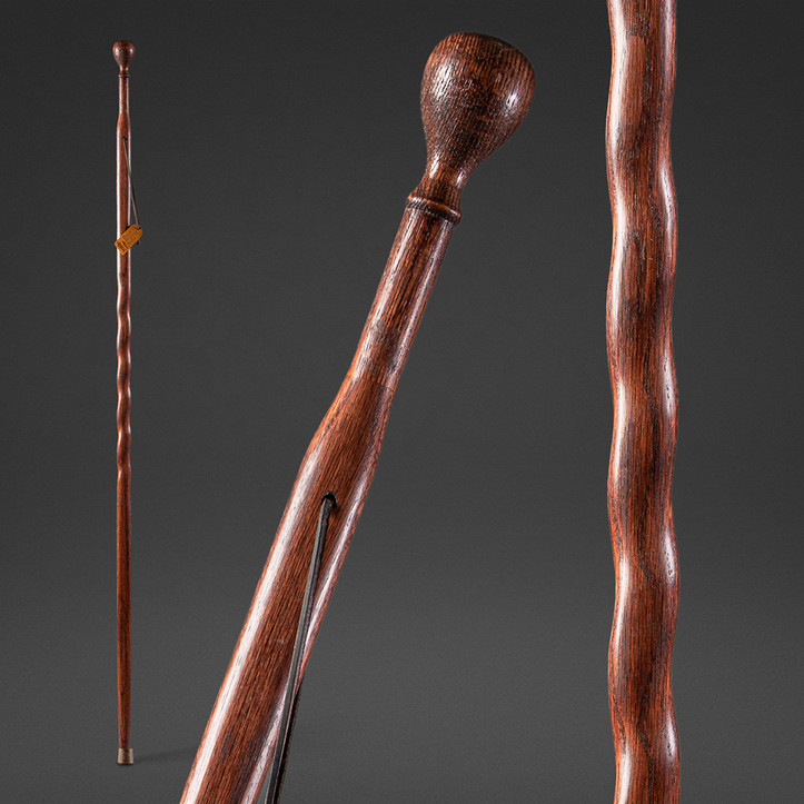 Royal Twisted Oak Turned Knob Walking Stick Image