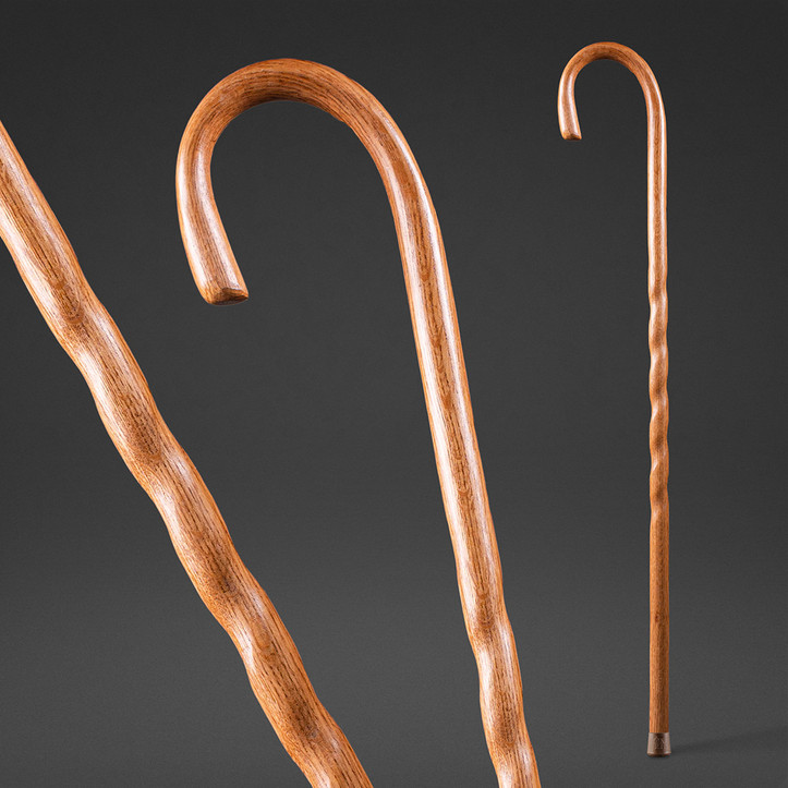 Twisted Oak Crook Neck Walking Cane Image