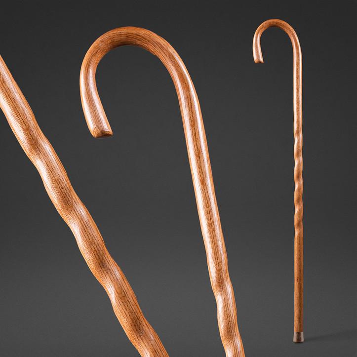 Twisted Oak Crook Neck Walking Cane Image