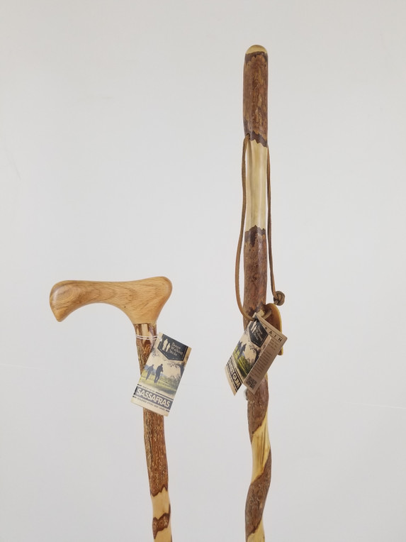 "Twisted Sassafras Cane 37"" (cracked shaft) + Twisted Sweet Gum Stick 48"" (finish issue) 0934"