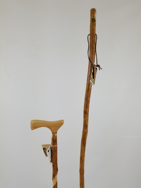 "Twisted Hardwood Cane 34"" (finish issues) + Freeform Hardwood Stick 55"" (crooked/cut) 1106"