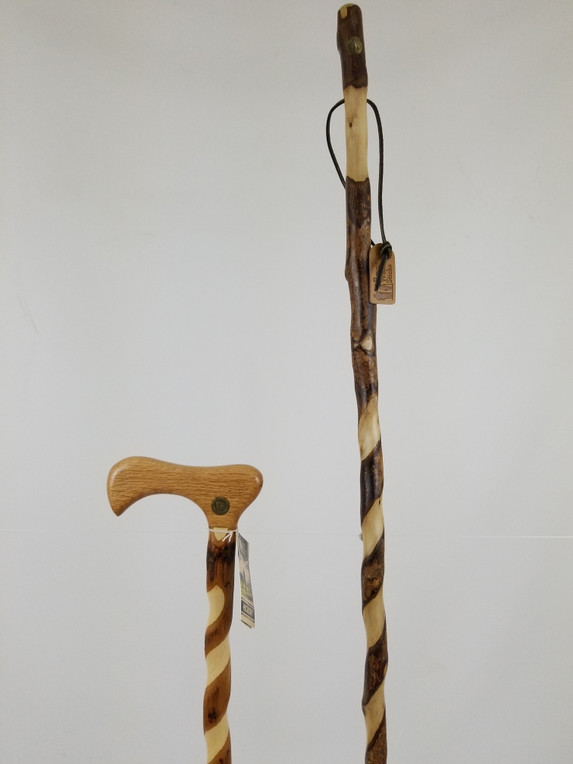 """Twisted Sweetgum Stick 55"""" (finish issues/tip) + Twisted Hickory Cane 35"""" (finish issues) 1112"""