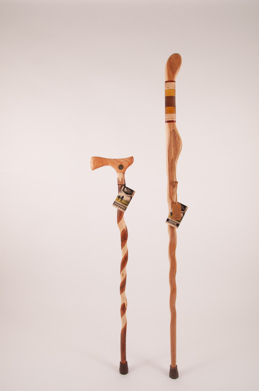"Texas Hitchhiker Safari Stick 49"" (finish issues) + Twisted Sassafras Cane 34"" (handle finish/scratches) 1147"