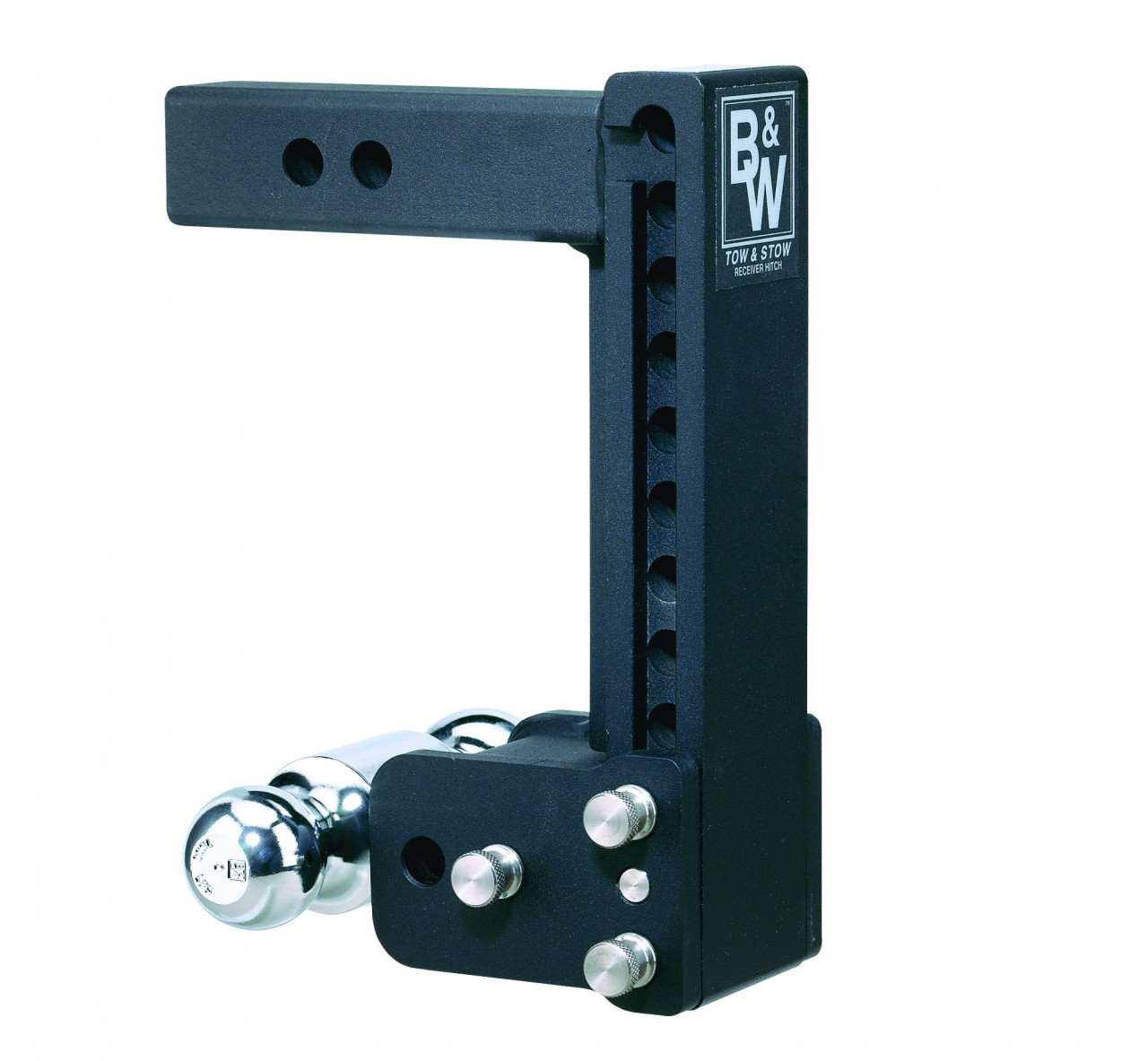 """MAGNUM-BLK12 --- B&W 2"""" Shank Tow and Stow Adjustable Two Ball Mount, 9"""" Maximum Drop"""