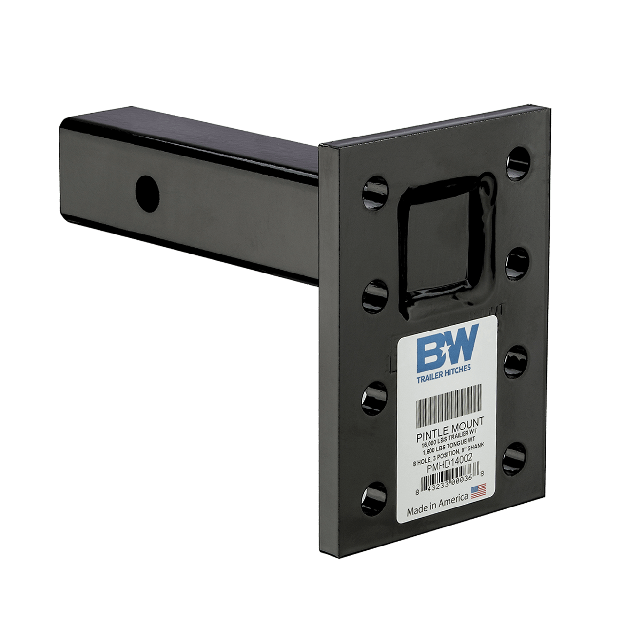 """BW14002 --- 2"""" Receiver Mounted Pintle Hook Adapter - 8 Holes - 16,000 lb Capacity"""