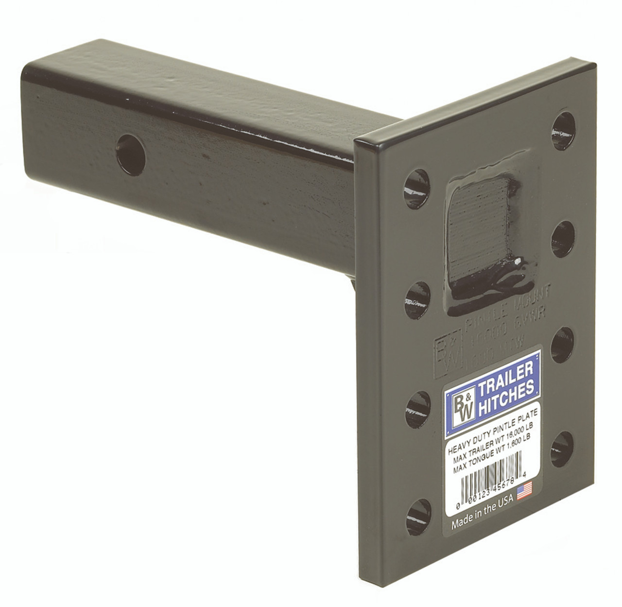 """BW14003 --- 2"""" Receiver Mounted Pintle Hook Adapter w/Long Shank - 8 Holes - 16,000 lb Capacity"""