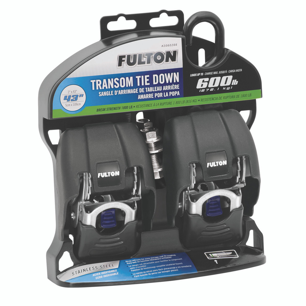 2060366 --- Fulton Marine Retractable Transom Rachet Tie-Down - Zinc Finish