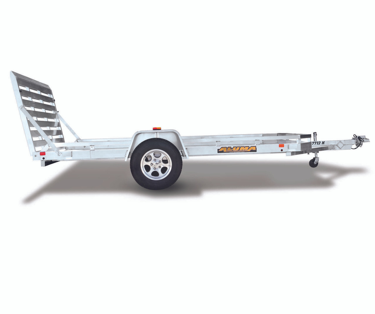 """AL7814ST --- 78"""" x 14' Aluminum Utility Trailer with Ramp Gate and Rear Stabilizers"""