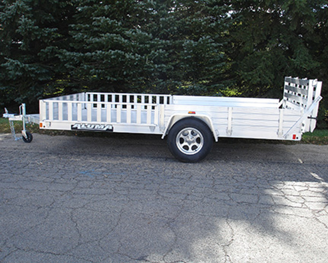 "AL8113SR --- 81"" x 13' Aluminum Utility Trailer with Removable Side Ramps and Bi-Fold Rear Gate"