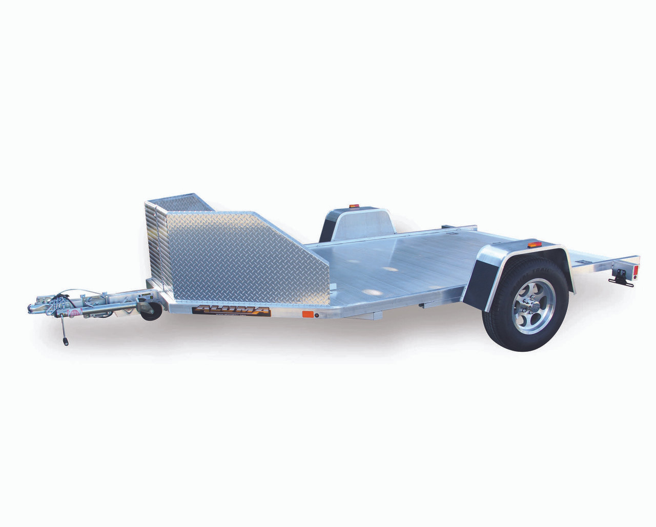"""ALMC210 --- 77"""" x 138"""" Aluminum Two Motorcycle Trailer with Ramp"""