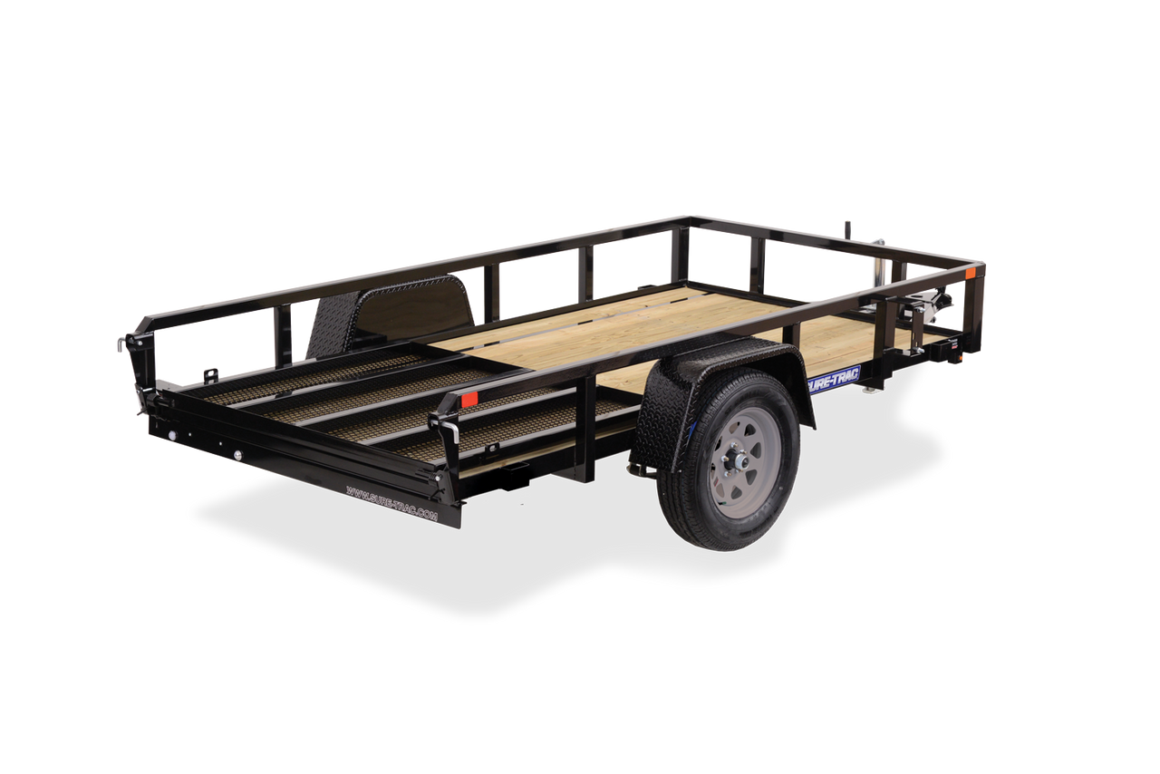 STR612GT --- 6' x 12' Trailer with Tube Top Rails and Ramp Gate