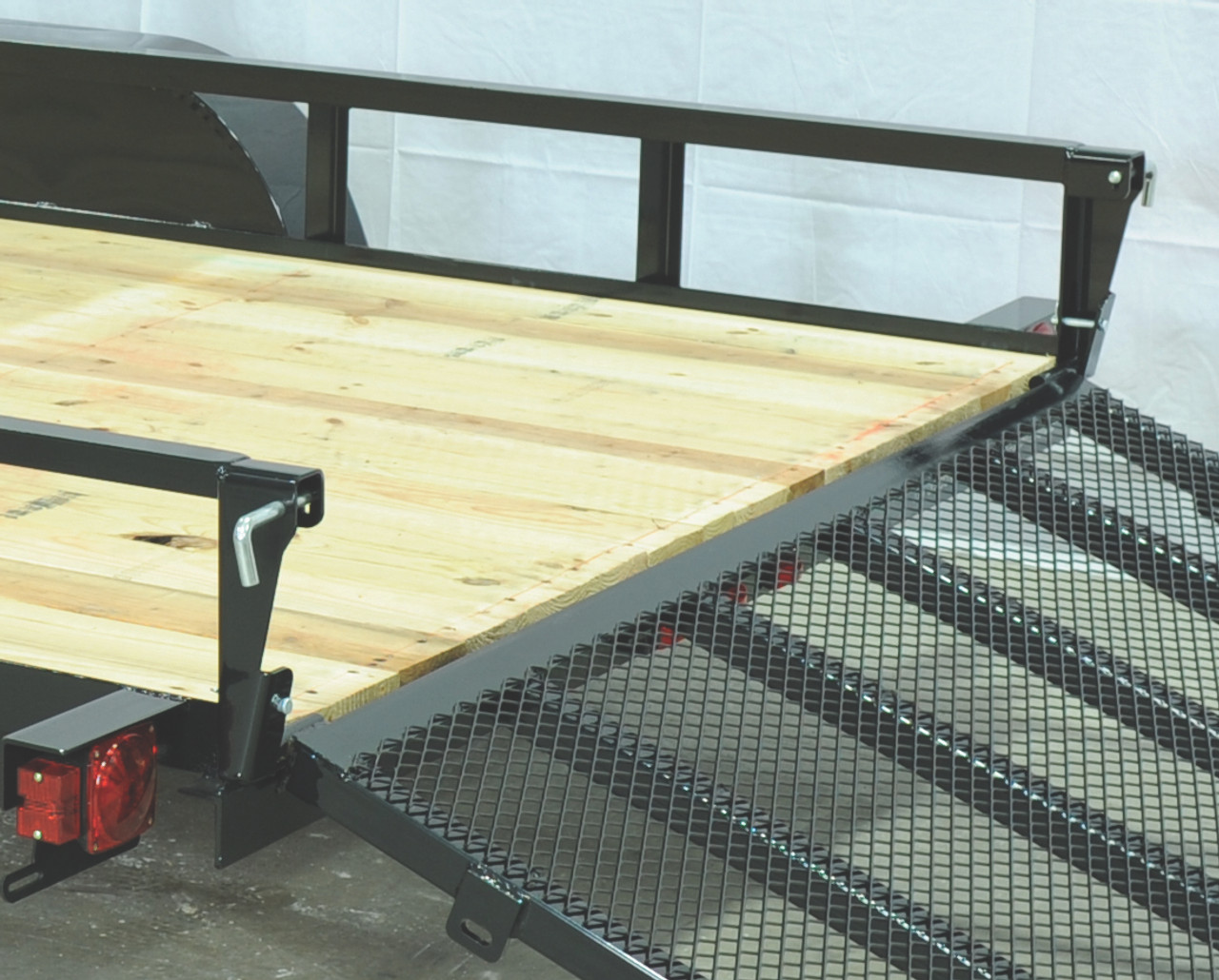 """STR8216GT-E2 --- 82"""" x 16' Trailer with Tube Top Rails and Ramp Gate"""