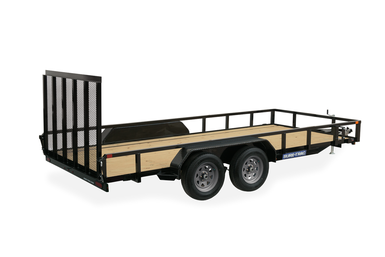 """STR8214GT-E2 --- 82"""" x 14' Trailer with Tube Top Rails and Ramp Gate"""