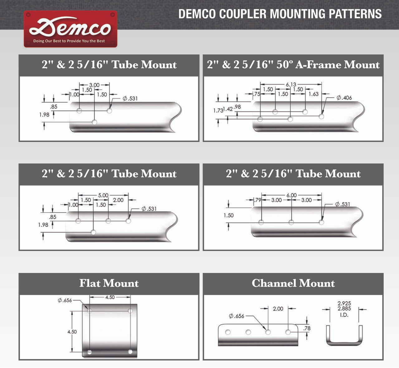"13689-95 --- Demco eZ Latch Zinc 2"" Coupler fits 3"" tongue - 10,000 lb Capacity"
