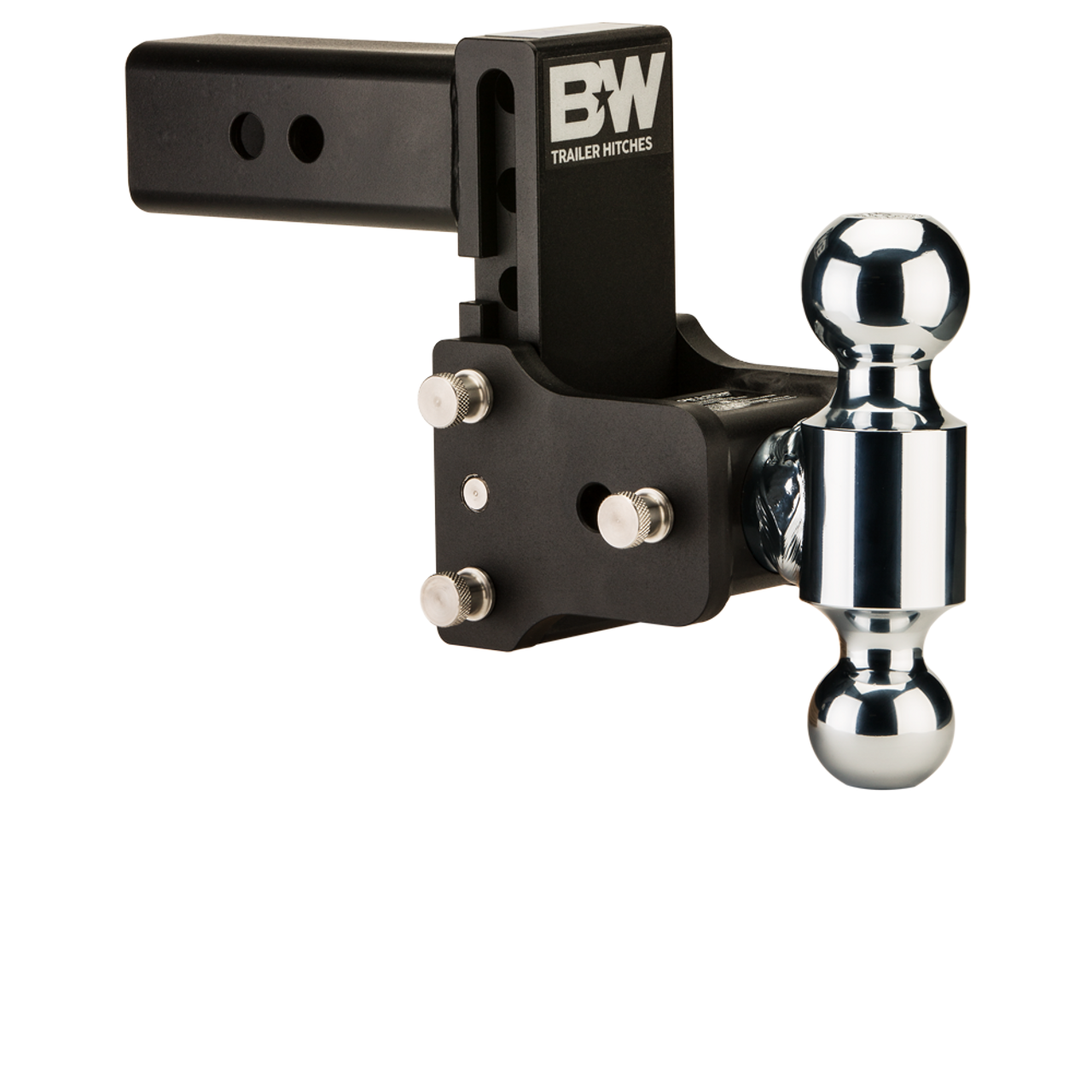 """BW20037B --- B&W 2.5"""" Shank Tow and Stow Adjustable Ball Mount with Two Hitch Balls, 5"""" Maximum Drop"""