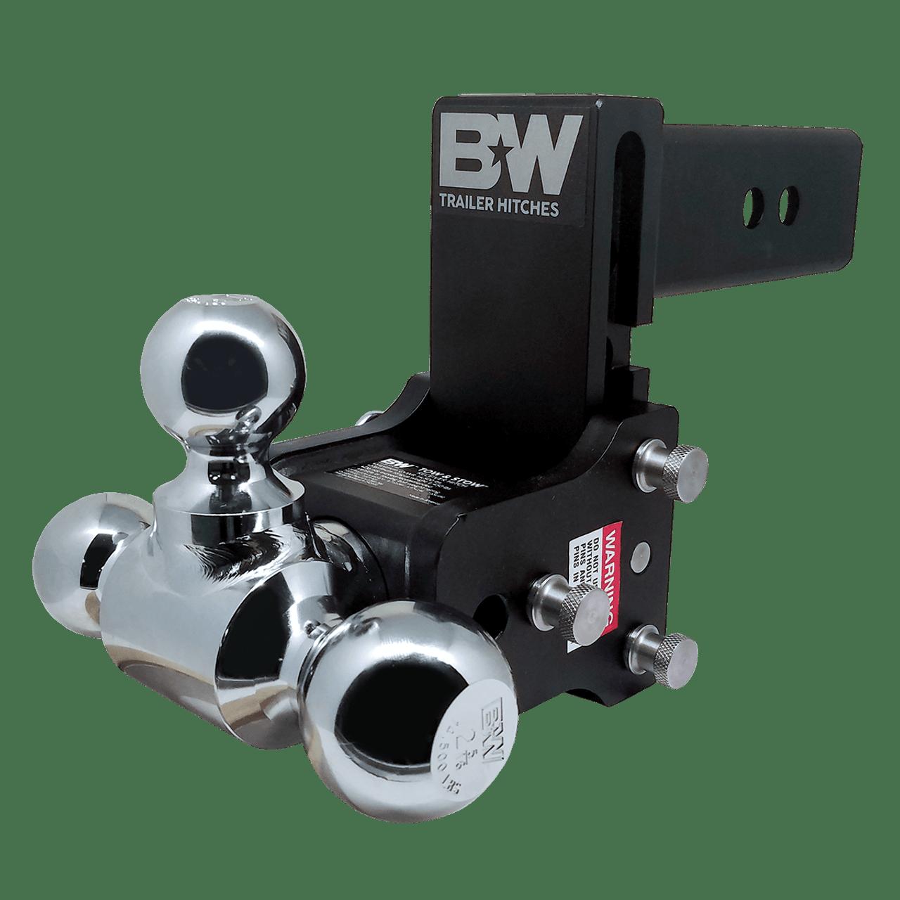 "BW20048B --- B&W 2.5"" Shank Tow and Stow Adjustable Tri-Ball Mount, 5"" Maximum Drop"