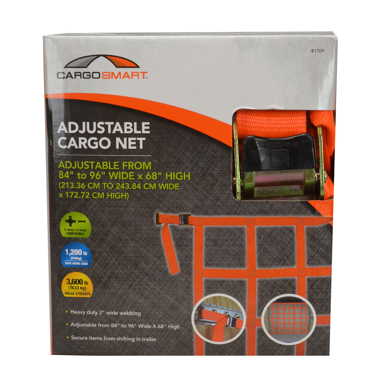 CS1709 --- Adjustable Cargo Net for X-Track/E-Track Systems