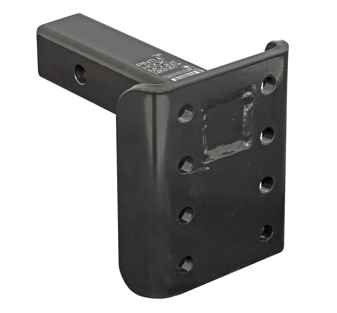 "PM90 --- 2"" Receiver Mounted Pintle Hook Adapter - 8 Holes - 17,000 lb Capacity"