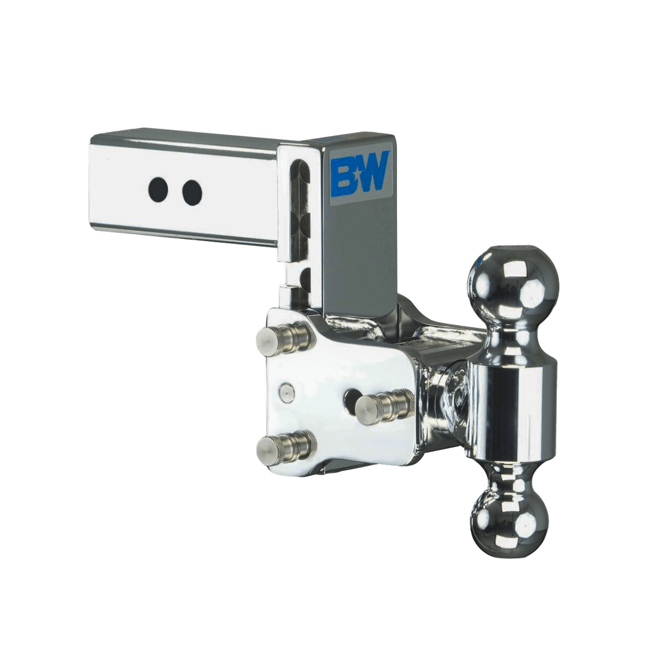 """BW20037C --- B&W 2.5"""" Shank Tow and Stow Adjustable Ball Mount with Two Hitch Balls, 5"""" Maximum Drop"""