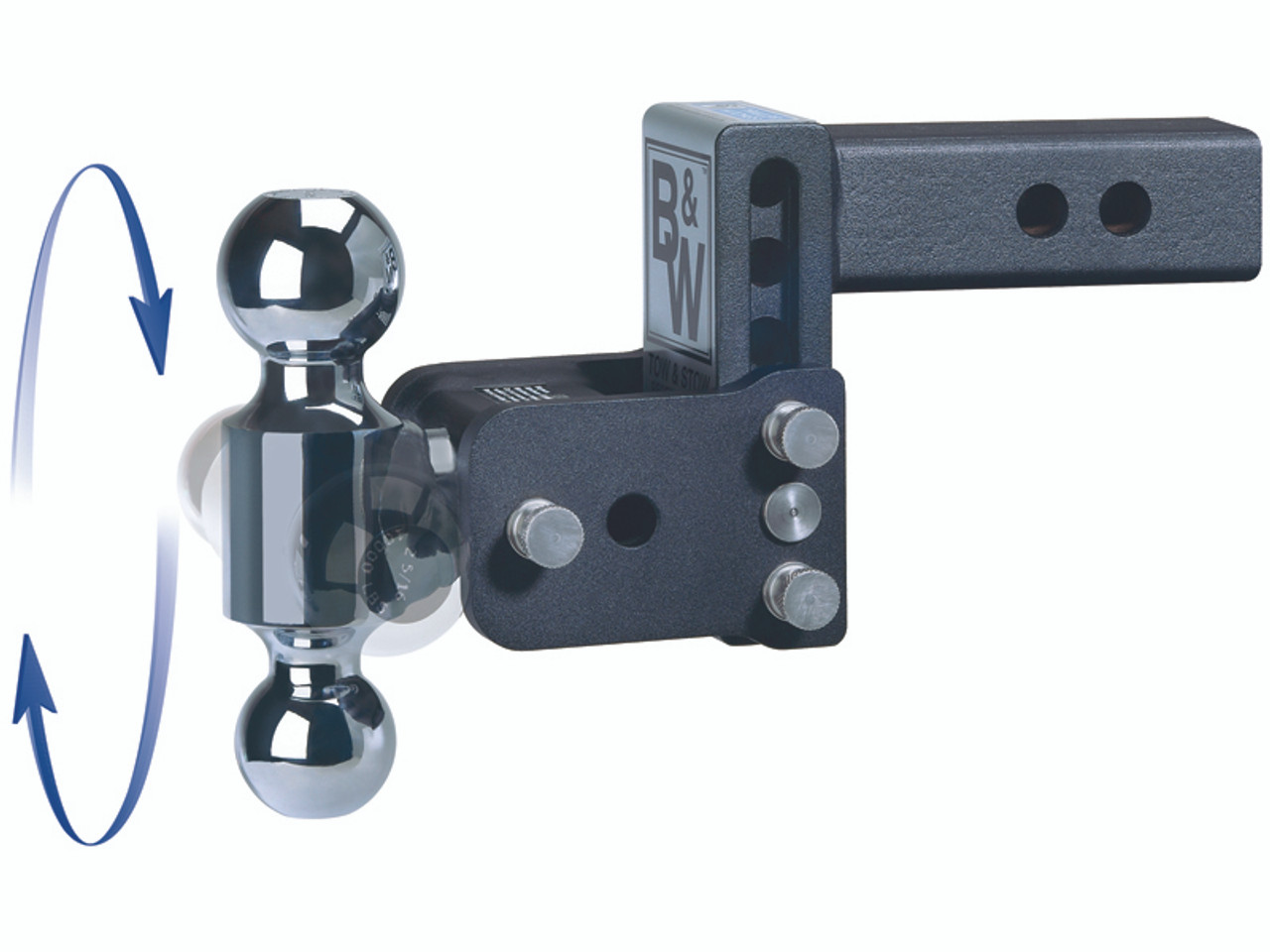 """BW30037B --- B&W 3"""" Shank Tow and Stow Adjustable Two Ball Mount, 4.5"""" Maximum Drop"""