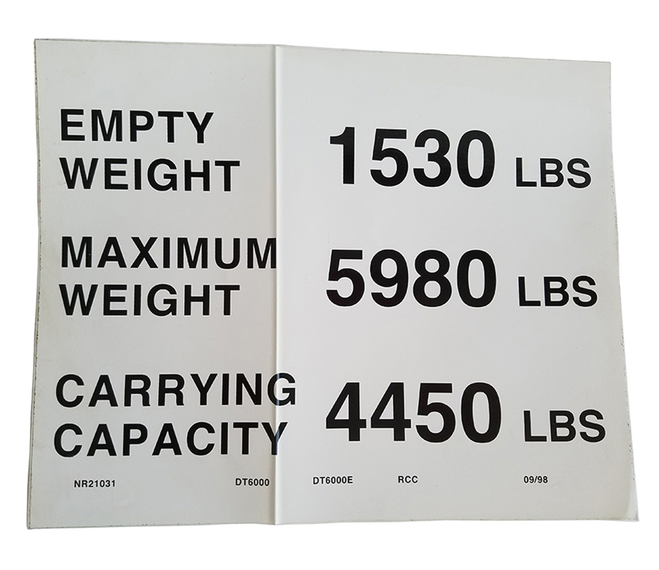 NR21031 --- Demco DT6000 Capacity Decal