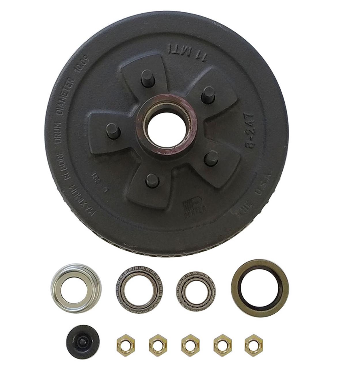 "1-545UHI-HDEZ --- 5 on 4-1/2"" Hub and Drum Assembly for 10"" Brakes - 3,500 lb - Ez Lube"