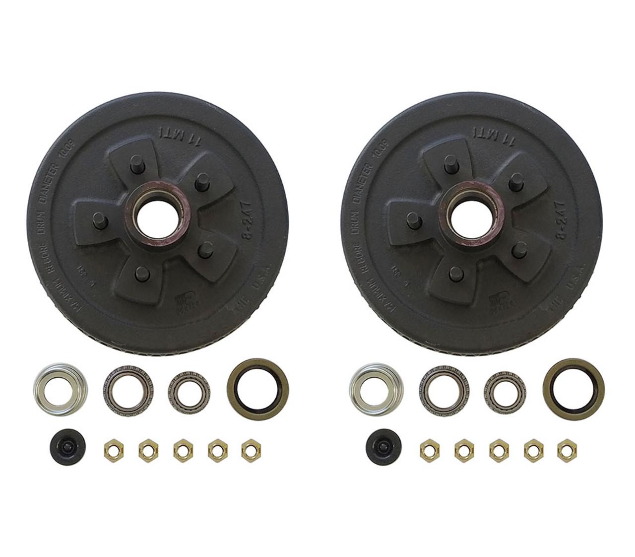 "545UHI-HDEZ --- 5 on 4-1/2"" Hub and Drum Assembly for 10"" Brakes - Pair - 3,500 lb - Ez Lube"