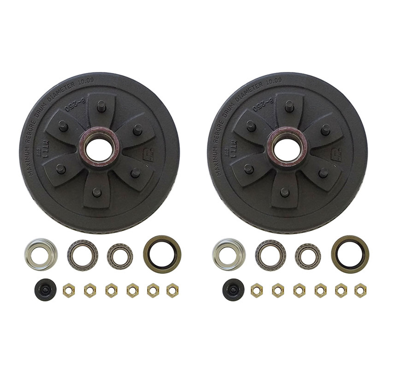 "655UHI-HDEZ --- 6 on 5-1/2"" Hub and Drum Assembly for 10"" Brakes - Pair - 3,500 lb - Ez Lube"