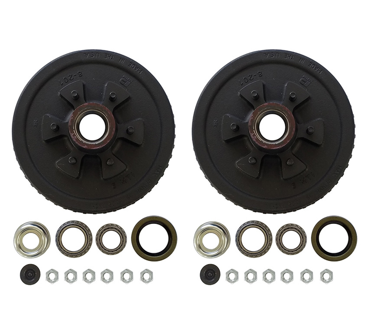 """42655HDEZ --- 6 on 5-1/2"""" Hub and Drum Assembly - 6,000 lb - Pair - Ez Lube"""