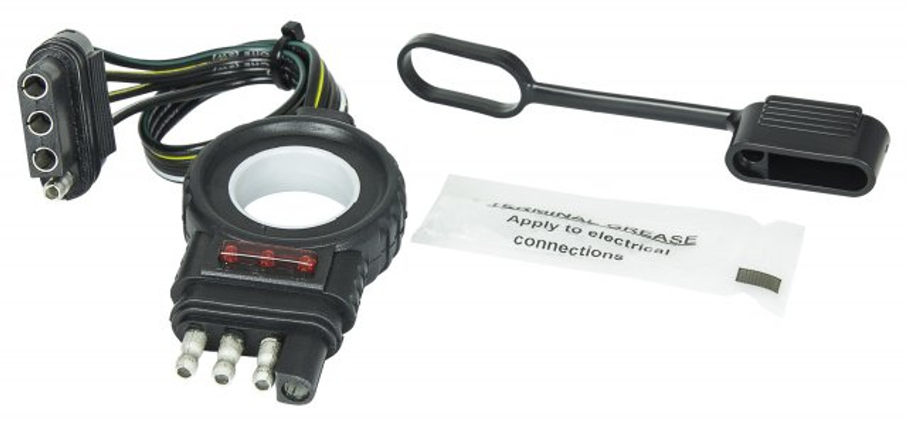 """48148 --- Endurance Easy-Pull 4-Prong Flat Vehicle and Trailer Ends  with LED's - 12"""""""