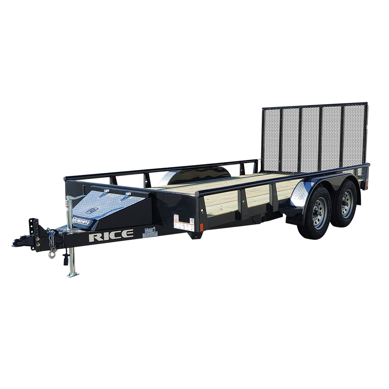"R8214PT-E1 --- 82"" x 14' Tandem Trailer with Ramp Gate and Pipe Top Rail"