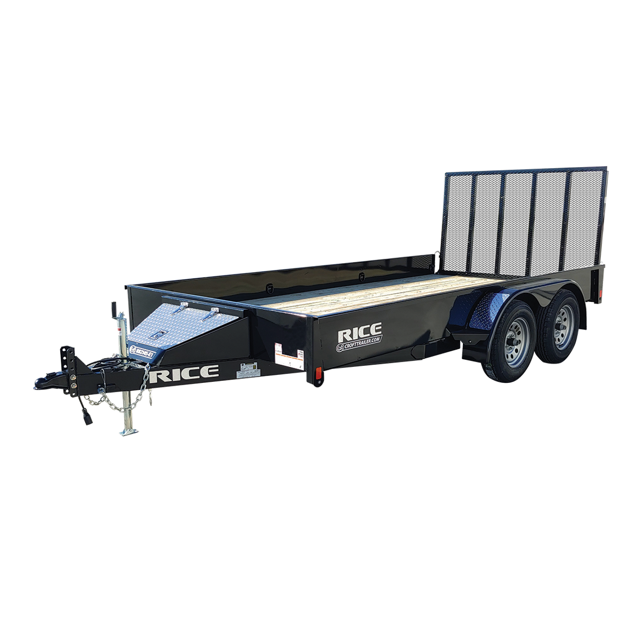 """R8214S-E1 --- 82"""" x 14' Tandem Trailer with Ramp Gate and Solid Sides"""