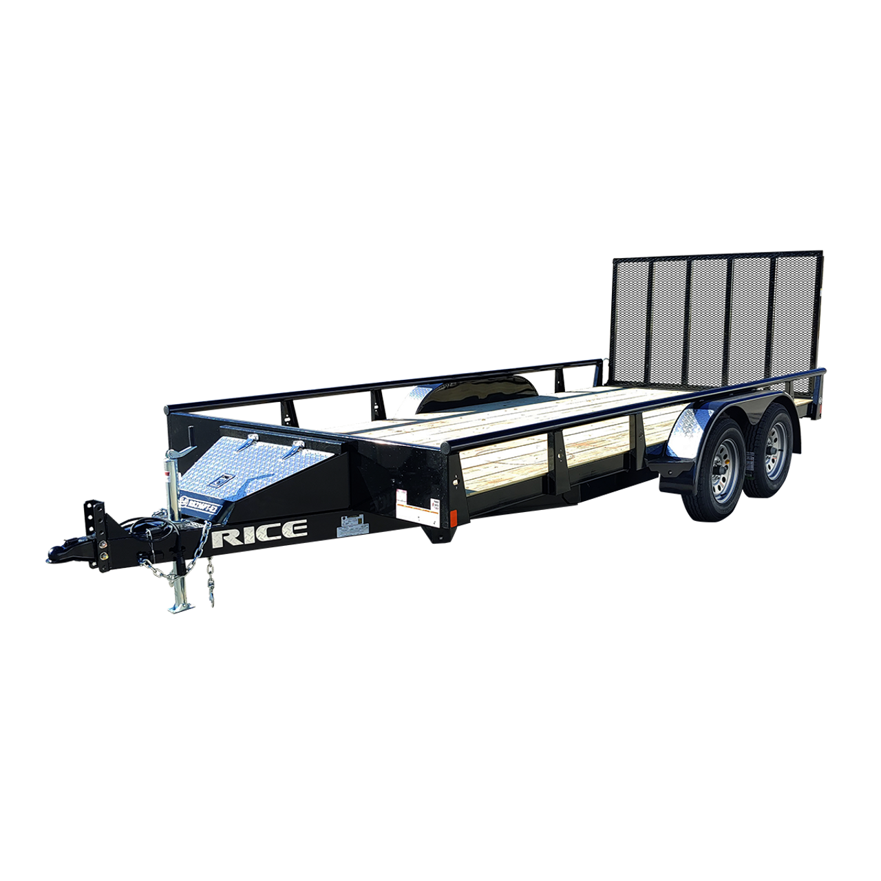 """R8216PT-E2 --- 82"""" x 16' Tandem Trailer with Ramp Gate and Pipe Top Rail"""