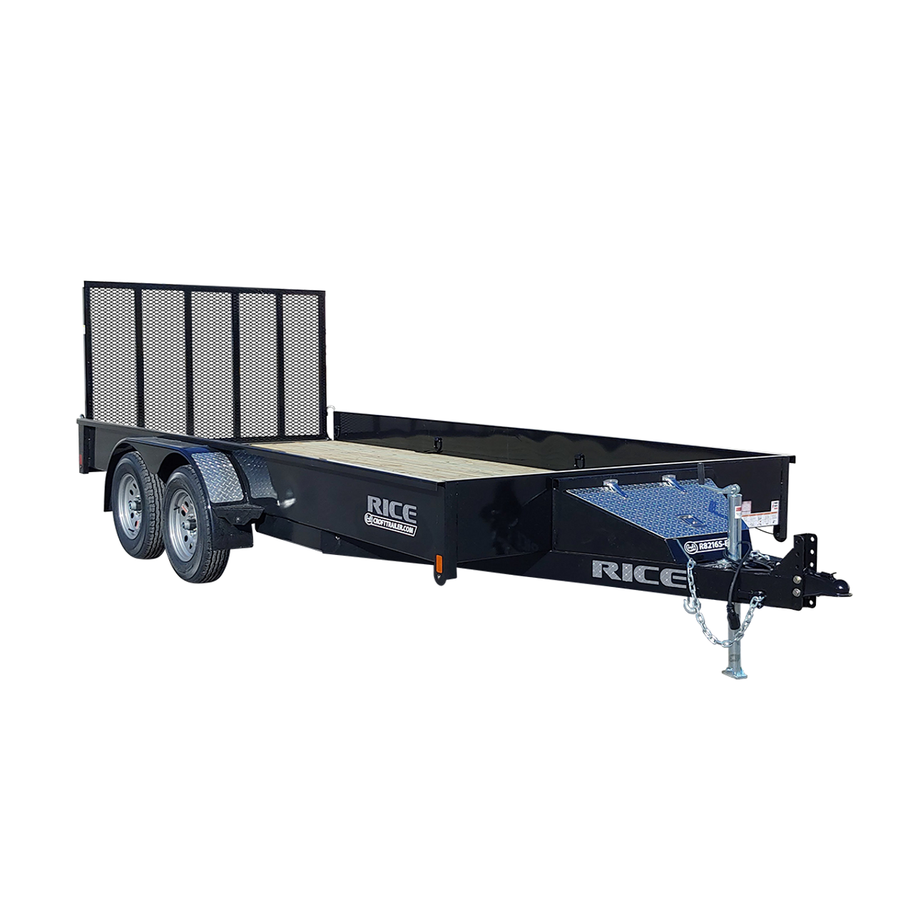 "R8216S-E2 --- 82"" x 16' Tandem Trailer with Ramp Gate and Solid Sides"