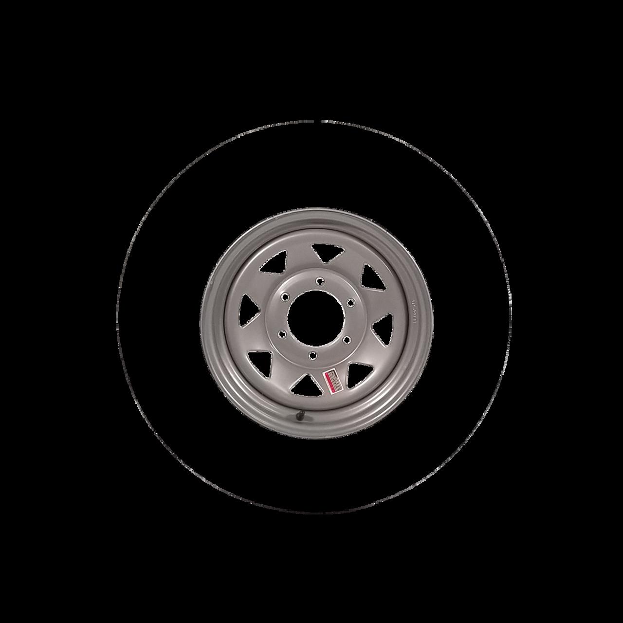 """W15-655SS --- 15"""" Silver Spoke Trailer Wheel, 6 on 5.5"""""""
