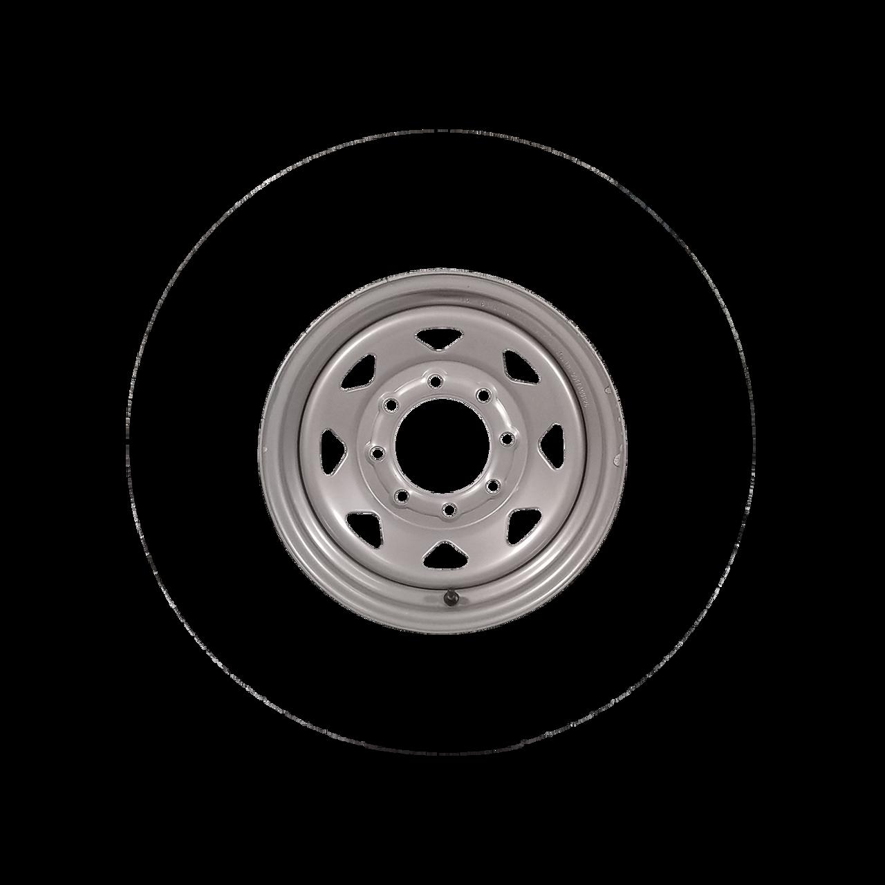 """W16-865SS --- 16"""" Silver Spoke Trailer Wheel, 8 on 6.5"""""""