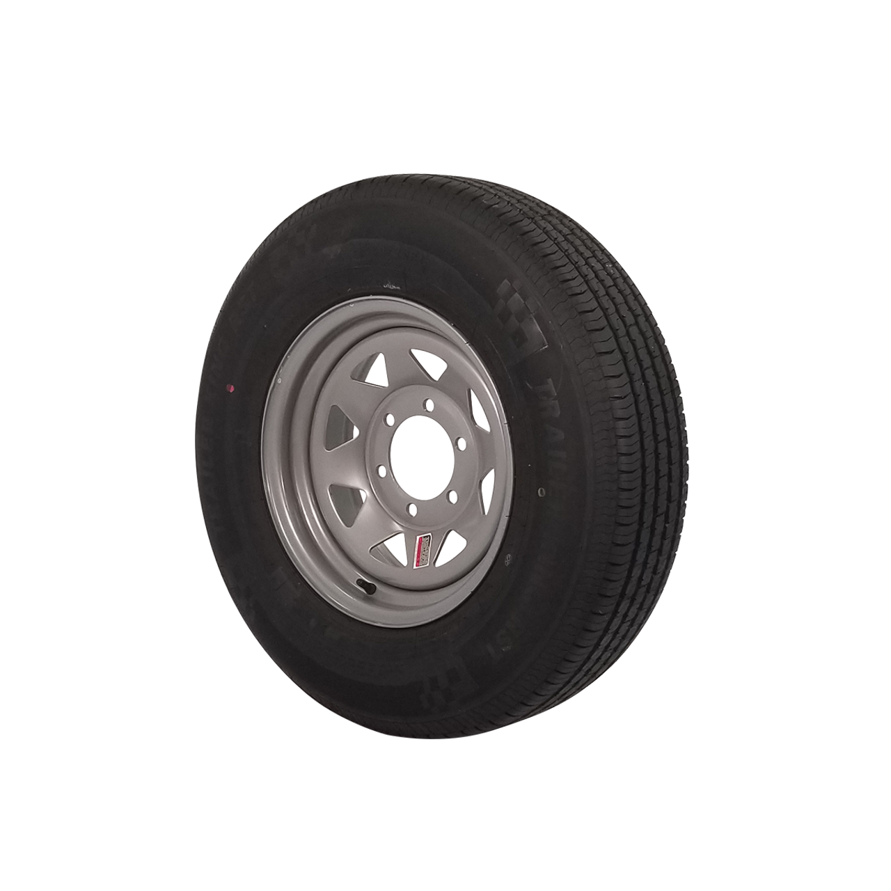 """WT15-5SSR --- 15"""" Silver Spoke Trailer Wheel and Tire Assembly, 5 on 4.5"""""""