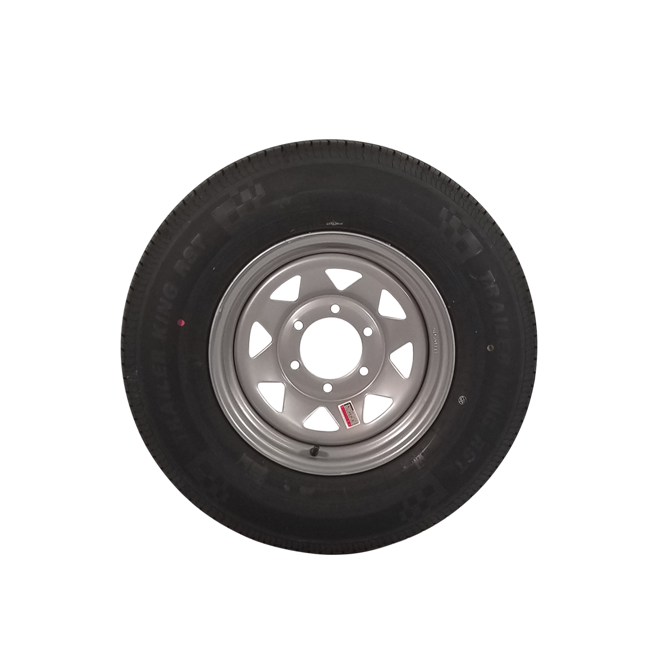 "WT15-5SSR --- 15"" Silver Spoke Trailer Wheel and Tire Assembly, 5 on 4.5"""