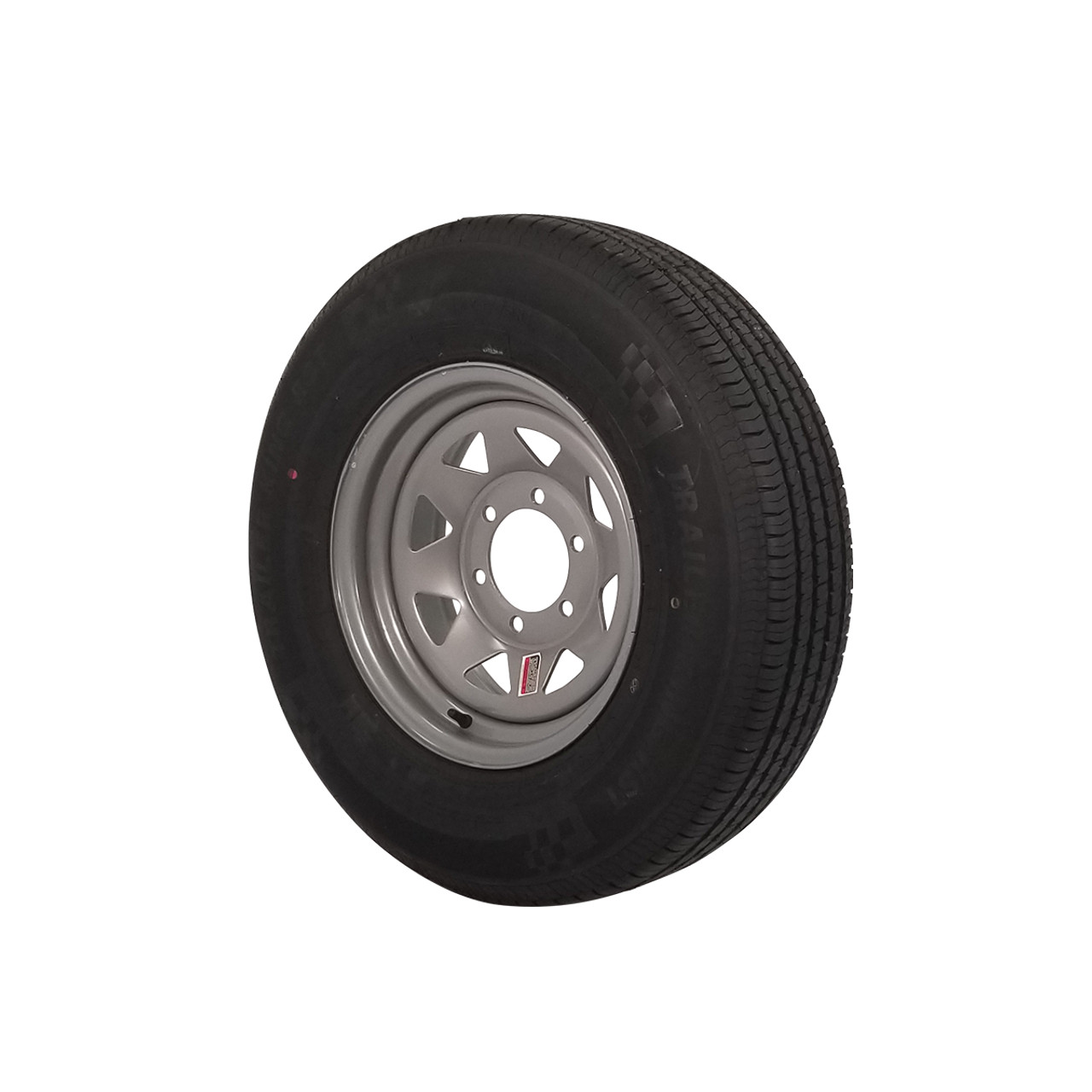 """WT15-655SSR --- 15"""" Silver Spoke Trailer Wheel and Tire Assembly, 6 on 5.5"""""""