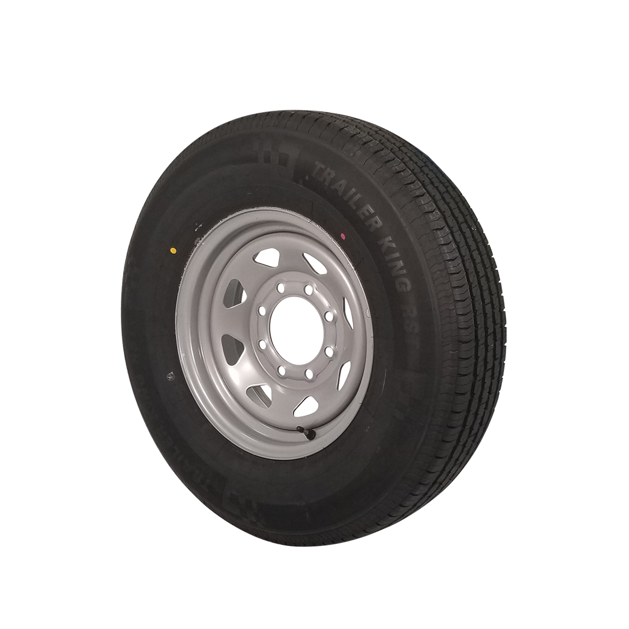 """WT16-865SSR --- 16"""" Silver Spoke Trailer Wheel and Tire Assembly, 8 on 6.5"""""""