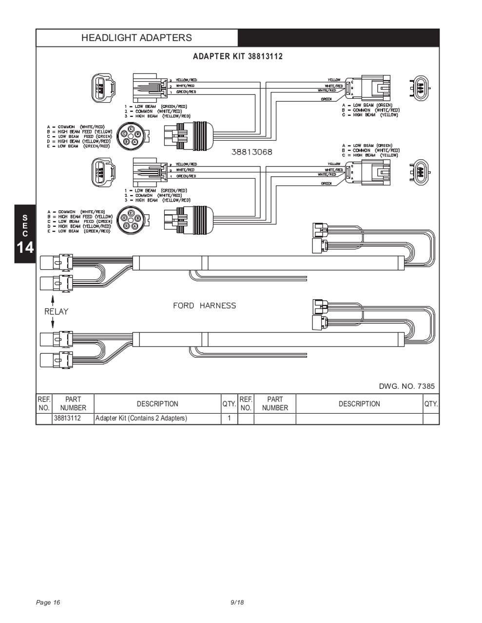 HN38813122 --- Hiniker Headlight Adapter Kit