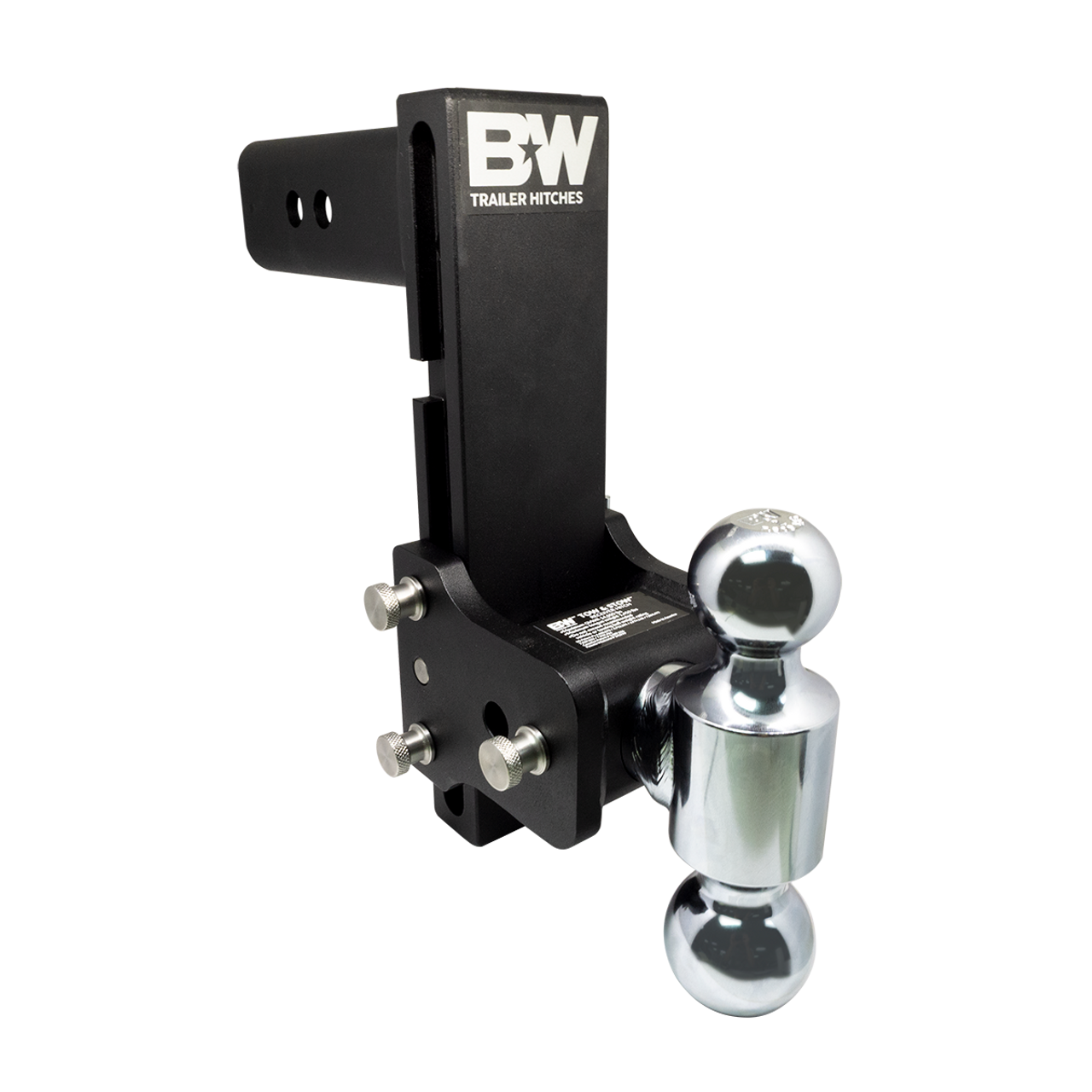 """BW20043B --- B&W 2.5"""" Shank Tow and Stow Adjustable Ball Mount with Two Hitch Balls, 8.5"""" Maximum Drop"""
