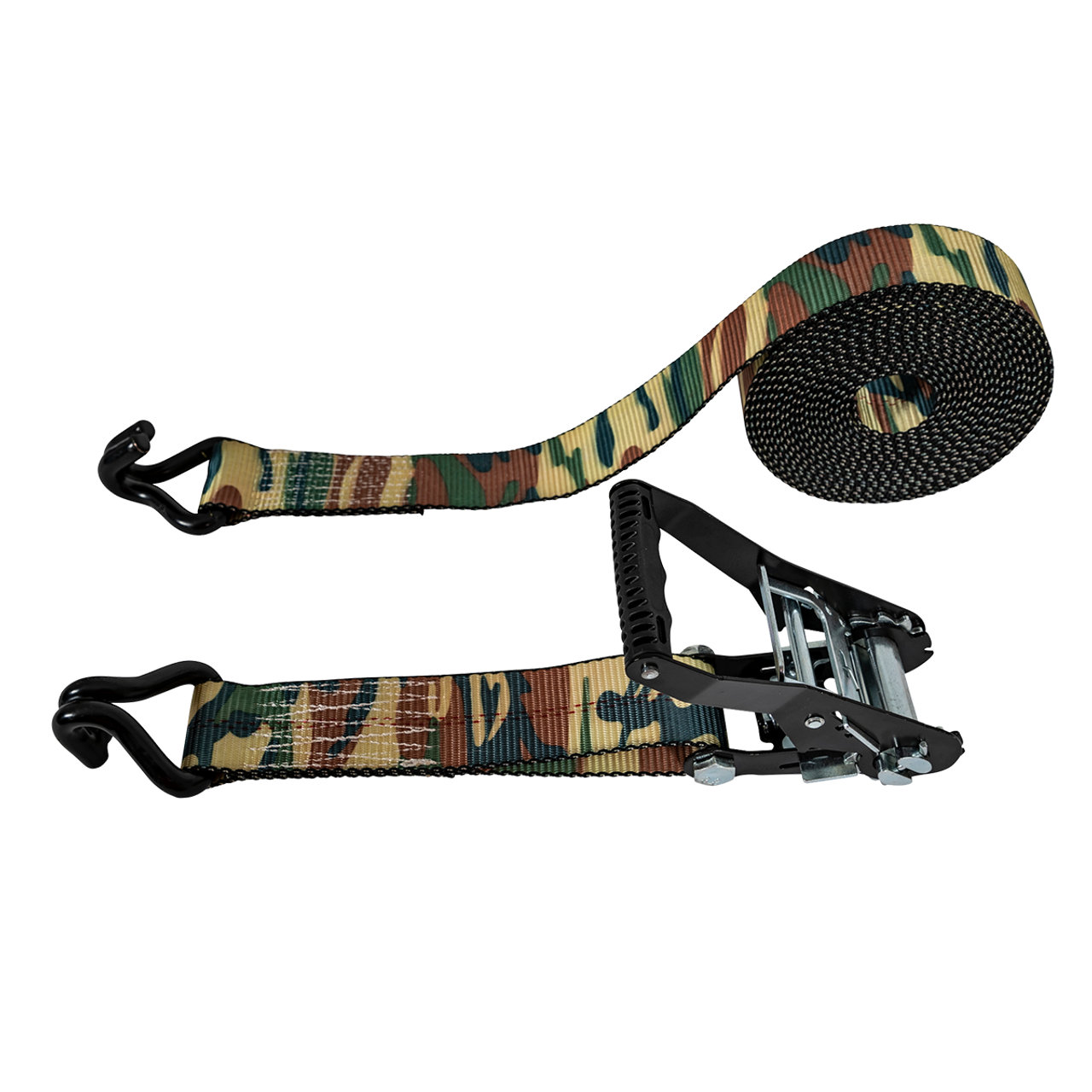 "5483010 --- Camo Heavy Duty Tie Down Strap with Ratchet - J Hook End Fittings - 2"" x 25'"