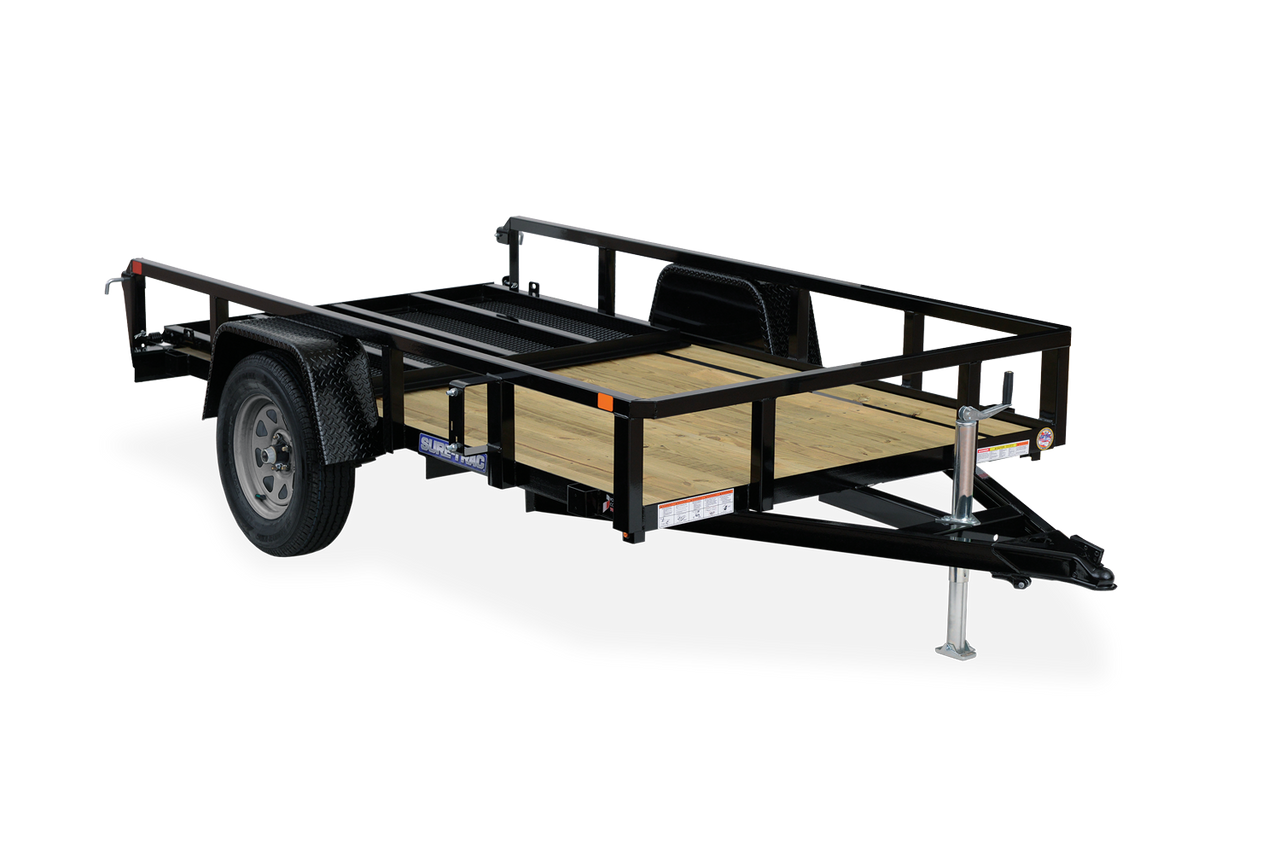 STR712GT --- 7' x 12' Trailer with Tube Top Rails and Ramp Gate